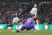 Reading forward Sone Aluko scores a goal during the EFL Sky Bet Championship match between Derby County and Reading at the Pride Park, Derby, England on 19 January 2019.