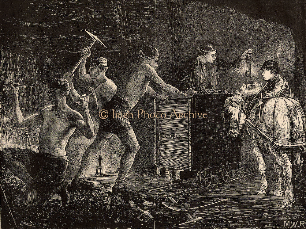 South Durham miners or pit-men at work at the coal face. On the floor, centre left, is a Clanny safety lamp which had a thick glass round the flame, while on the right the miner is holding up a Davy lamp which had wire gauze round the flame. On the right the boy with a pit pony is waiting for the miners to fill the wagon with coal so that he can hitch up the pony which will drag the wagon along the rails to the bottom of the pit shaft. Engraving from 'The Graphic' (London, 28 January 1871).