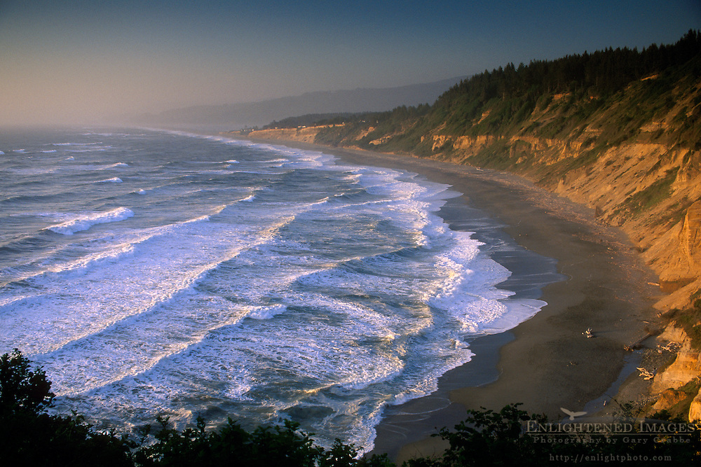 Waves at sunset along Agate Beach, Patricks Point State Park, Trinidad, Humboldt County, CALIFORNIA
