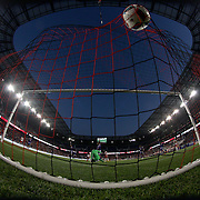 HARRISON, NEW JERSEY- APRIL 24: The ball hits the back of the net for a disallowed goal by Bradley Wright-Phillips #99 of New York Red Bulls during the New York Red Bulls Vs Orlando City MLS regular season match at Red Bull Arena, Harrison, New Jersey on April 24, 2016 in New York City. (Photo by Tim Clayton/Corbis via Getty Images)