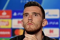 MADRID, SPAIN - Friday, May 31, 2019: Liverpool's Andy Robertson during a press conference ahead of the UEFA Champions League Final match between Tottenham Hotspur FC and Liverpool FC at the Estadio Metropolitano. (Pic by Handout/UEFA)
