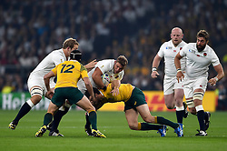 Tom Youngs of England takes on the Australia defence - Mandatory byline: Patrick Khachfe/JMP - 07966 386802 - 03/10/2015 - RUGBY UNION - Twickenham Stadium - London, England - England v Australia - Rugby World Cup 2015 Pool A.