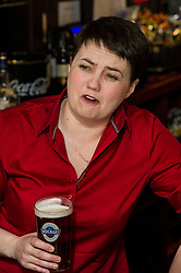 Pictured: <br /> <br /> The Scottish Conservative leader Ruth Davidson viisted the Raeburn Bar in Edinburgh today to have a word with voters.  The Scottish Conservative leader also spoke with staff at the Raeburn Bar in Stockbridge. <br /> <br /> Ger Harley | EEm 27 April 2016