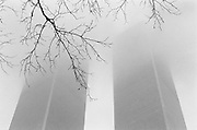 New York - The World Trade Center in 1990, fading into a snowstorm.