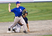 MIDDLETOWN, CT - 09 AUGUST 2010 -.East Longmeadow Post 293's Sean Harrington throws to first after tagging out Branford Post 83's Buddy Shea during Monday's American Legion Northeast Regional Tournament Championship game at Palmer Field in Middletown. East Longmeadow lost, 2-1..Photo by Josalee Thrift