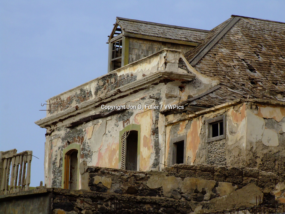 An abandoned and decaying stone building from the colonial era in Ponta do Sol, Santo Antao, Republic of Cabo Verde, Africa.