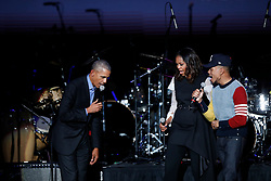 Chance the Rapper was on hand to perform at the Barack Obama Foundation Summit in Chicago. 01 Nov 2017 Pictured: Barack Obama, Michelle Obama, Chance the Rapper. Photo credit: MEGA TheMegaAgency.com +1 888 505 6342