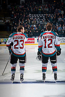 KELOWNA, CANADA - FEBRUARY 10:  Brothers Reid Gardiner #23 and Erik Gardiner #12 of the Kelowna Rockets line up on the blue line against the Vancouver Giants on February 10, 2017 at Prospera Place in Kelowna, British Columbia, Canada.  (Photo by Marissa Baecker/Shoot the Breeze)  *** Local Caption ***