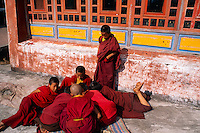 Young novice monks, Rumtek Monastery (Yellow Hat Karmapa sect of Buddhism), near Gangtok, Sikkim, India