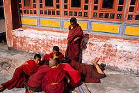 Young novice monks, Rumtek Monastery (Yellow Hat Karmapa sect of Buddhism), near Gangtok, Sikkim, India