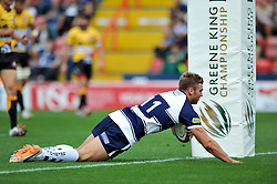 Andy Short of Bristol Rugby scores a try- Photo mandatory by-line: Patrick Khachfe/JMP - Mobile: 07966 386802 21/09/2014 - SPORT - RUGBY UNION - Bristol - Ashton Gate - Bristol Rugby v Cornish Pirates - GK IPA Championship.