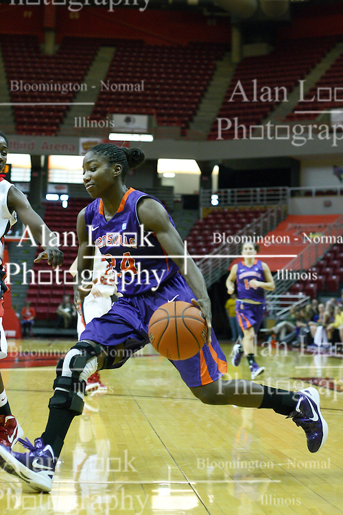 01 January 2012:  Taylor Ware drives to the lane during an NCAA women's basketball game between the Evansville Purple Aces and the Illinois Sate Redbirds at Redbird Arena in Normal IL