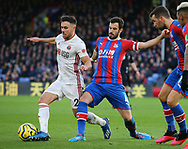 George Baldock of Sheffield Utd tackled by Luka Milivojevic of Crystal Palace during the Premier League match at Selhurst Park, London. Picture date: 1st February 2020. Picture credit should read: Paul Terry/Sportimage