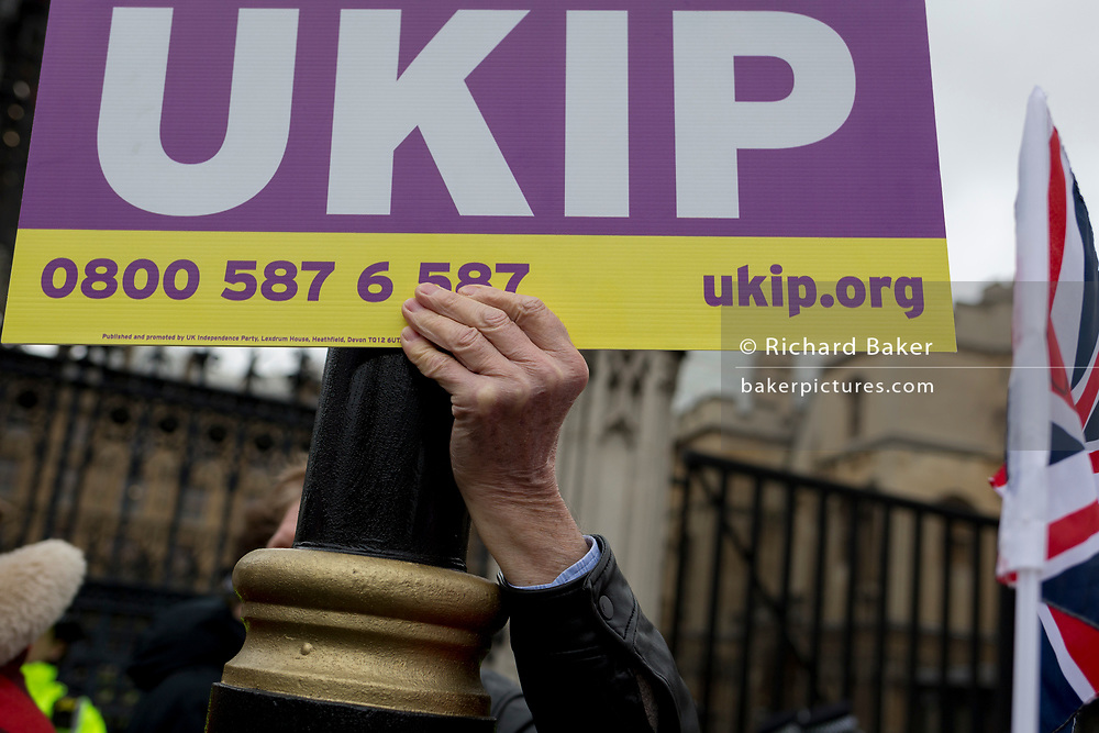 On the day that Prime Minister Theresa May's Meaningful Brexit vote is taken in the UK Parliament, UKIP voters protest outside the House of Commons, on 15th January 2019, in Westminster, London, England.