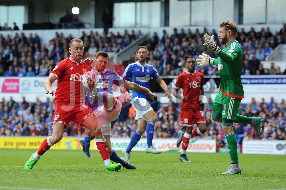 Aaron Wilbraham of Bristol City challenges for the ball in the penalty area - Mandatory byline: Dougie Allward/JMP - 07966 386802 - 26/09/2015 - FOOTBALL - Portman Road - Ipswich, England - Ipswich Town v Bristol City - Sky Bet Championship