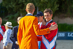 Philippaerts Nicola, BEL, Verlooy Jos, BEL, Schuttert Frank, NED<br /> Longines FEI Jumping Nations Cup™ Final<br /> Barcelona 20128<br /> © Hippo Foto - Dirk Caremans<br /> 07/10/2018
