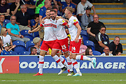 Rotherham United defender Clark Robertson (15) celebrating after scoring goal to make it \1-2 during the EFL Sky Bet League 1 match between AFC Wimbledon and Rotherham United at the Cherry Red Records Stadium, Kingston, England on 3 August 2019.
