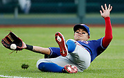Texas Rangers left fielder Shin-Soo Choo is unable to catch a fly ball hit by Kansas City Royals' Alex Gordon in the first inning of a baseball game at Kauffman Stadium in Kansas City, Mo., Tuesday, May 14, 2019. <br /> Gordon hit an RBI double on the play. (AP Photo/Colin E. Braley)