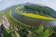 Panoramic view to Saxon Switzerland from Bastei in Rathen, Germany.