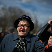 ODESSA, UKRAINE - March 16, 2014: A pro-Russia protestor shouts anti-NATO words as thousands gather in Kulikovo pole square to demonstrate support for the referendum in Crimea. CREDIT: Paulo Nunes dos Santos