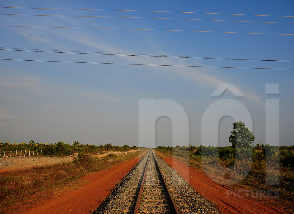 Perspective view of the rail line in Kep, Kampot province, Cambodia, Asia.