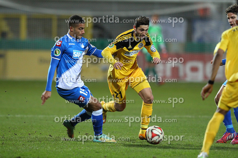 03.03.2015, Scholz Arena, Aalen, GER, DFB Pokal, VfR Aalen vs TSG 1899 Hoffenheim, Achtelfinale, im Bild Jeremy Toljan ( TSG 1899 Hoffenheim ) rechts Fabio Kaufmann (VfR Aalen) // during German DFB Pokal last sixteen match between VfR Aalen and TSG 1899 Hoffenheim at the Scholz Arena in Aalen, Germany on 2015/03/03. EXPA Pictures &copy; 2015, PhotoCredit: EXPA/ Eibner-Pressefoto/ Langer<br /> <br /> *****ATTENTION - OUT of GER*****