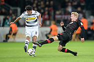 Julian Brandt of Bayer Leverkusen and Mahmoud Dahoud  of Borussia Monchengladbach during the Bundesliga match at BayArena, Leverkusen<br /> Picture by EXPA Pictures/Focus Images Ltd 07814482222<br /> 28/01/2017<br /> *** UK & IRELAND ONLY ***<br /> <br /> EXPA-EIB-170129-0036.jpg