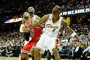Apr 27, 2010; Cleveland, OH, USA; Cleveland Cavaliers forward Antawn Jamison (4) boxes out Chicago Bulls forward Taj Gibson (22) as Cleveland Cavaliers forward LeBron James (23) looks on during the third period in game five in the first round of the 2010 NBA playoffs at Quicken Loans Arena.  Mandatory Credit: Jason Miller-US PRESSWIRE