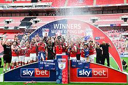 Free to use courtesy of Sky Bet. Rotherham United celebrate winning the Sky Bet League One Play Off Final - Mandatory by-line: Dougie Allward/JMP - 27/05/2018 - FOOTBALL - Wembley Stadium - London, England - Rotherham United v Shrewsbury Town - Sky Bet League One Play-off Final