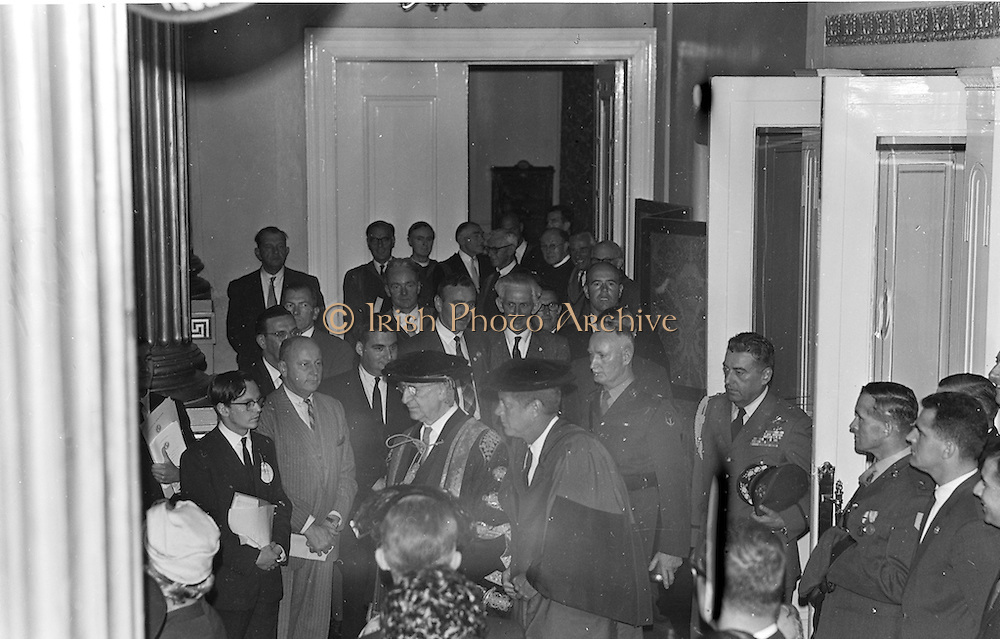 The two presidents Kennedy and de Valera capped and gowned in procession for conferring of degrees. President Kennedy received an Honorary Degree from the National University of Ireland and Freedom of the City at Dublin Castle.
