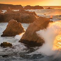 Crashing winter waves along the Big Sur Coast, California.