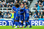 Eden Hazard (#10) of Chelsea celebrates Chelsea's first goal (0-1) with Chelsea teammates during the Premier League match between Newcastle United and Chelsea at St. James's Park, Newcastle, England on 26 August 2018.