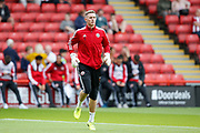 Dean Henderson of Sheffield United warming up for the Premier League match between Sheffield United and Crystal Palace at Bramall Lane, Sheffield, England on 18 August 2019.