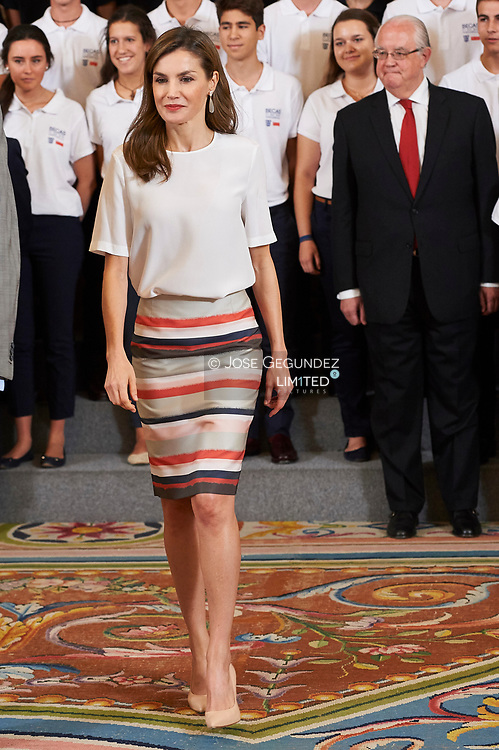 Queen Letizia of Spain attended an Audience to the students participating in the 12nd edition of the Program 'European Scholarships' of the University Francisco de Vitoria at Palacio de la Zarzuela on July 5, 2017 in Madrid