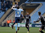 Coventry City Midfielder Romain Vincelotj jumps for the ball during the Sky Bet League 1 match between Coventry City and Bury at the Ricoh Arena, Coventry, England on 13 February 2016. Photo by Chris Wynne.