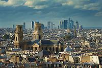 France, Paris (75), église Saint-Sulpice et la Defennse au fond // France, Paris, Saint-Sulpice church with la Defense business center in the background