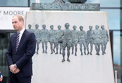 LONDON - UK - 6th April 2016: The Duke of Cambridge, Prince William, President of the English F.A. (Football Association) visits Wembley Stadium, N.London to mark 10 years as President of the F.A. <br /> <br /> On arrival the Prince viewed the Bobby Moore statue.<br /> Photograph by Ian Jones.