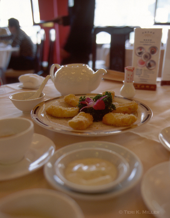 A appetizer is served at the Jumbo Floating Restaurant in Aberdeen, Hong Kong, China.