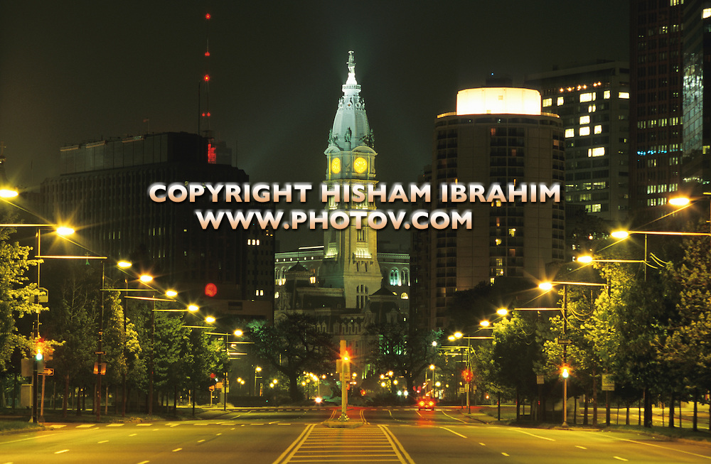 Philadelphia City Hall and Benjamin Franklin Parkway Illuminated at Night, Philadelphia, Pennsylvania, USA