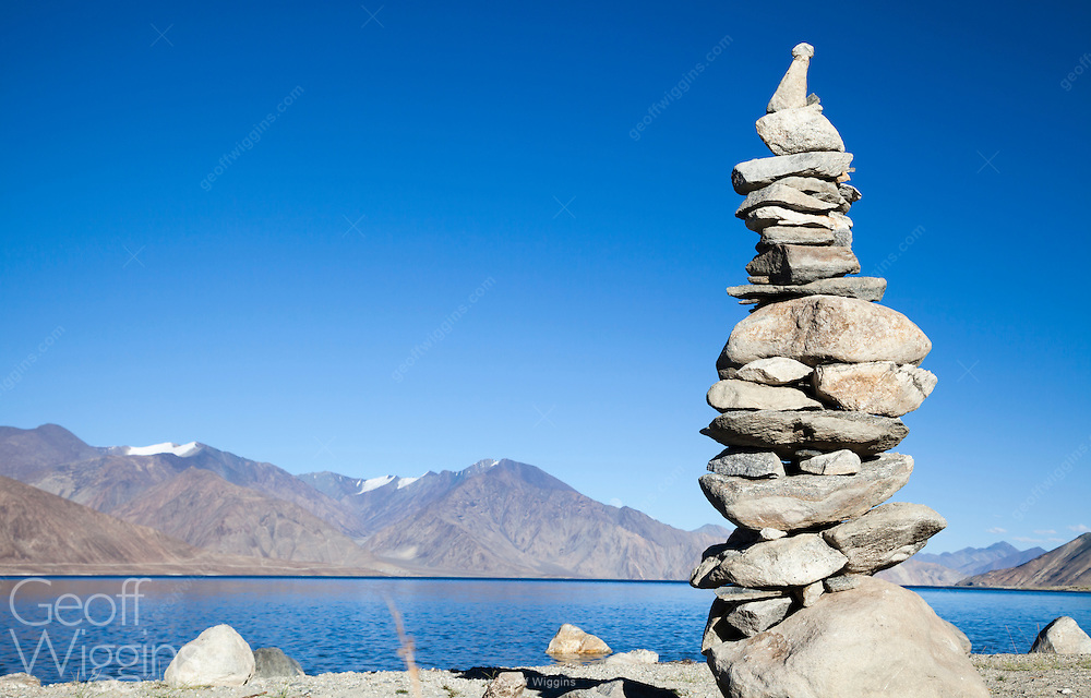 Stone cairn or chorten on the Indian side of Pangong Tso Lake situated on the Indian Chinese border in Ladakh at a height of about 4,350 m