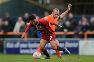 Danny Rose of Oxford United does battle with Kenny Davis of Braintree Town during the FA Cup match between Braintree Town and Oxford United at the Avanti Stadium, Braintree<br /> Picture by Richard Blaxall/Focus Images Ltd +44 7853 364624<br /> 08/11/2015