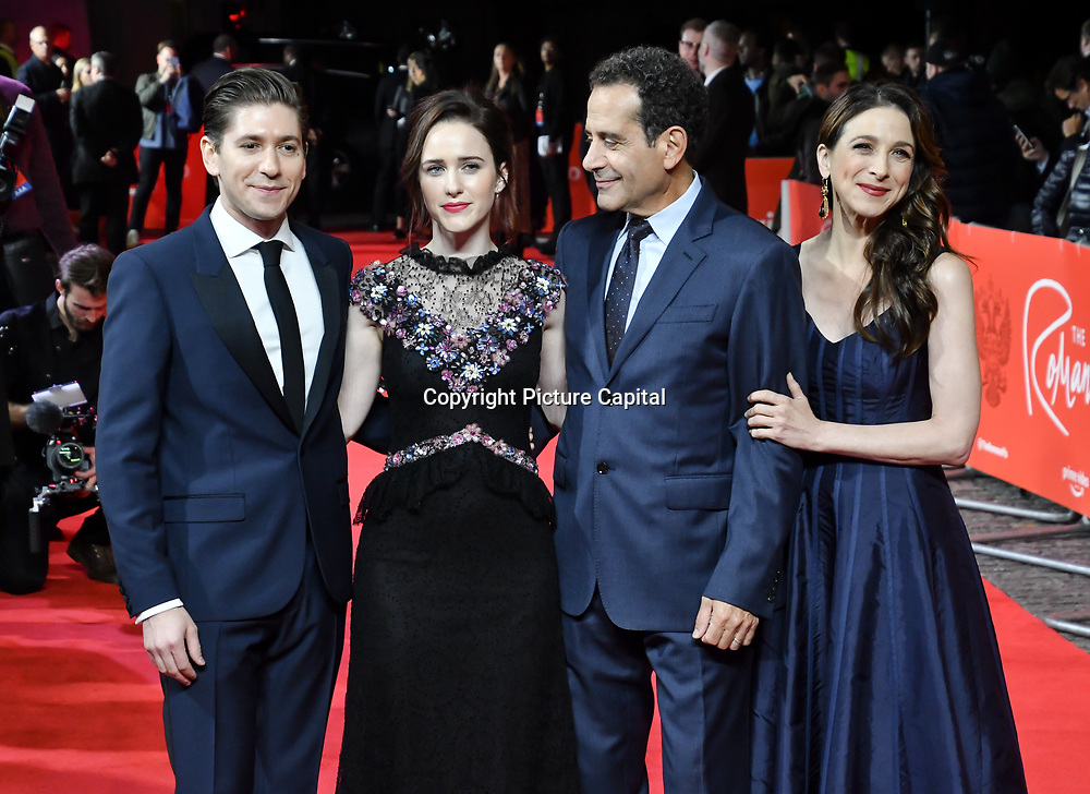 Michael Zegen, Rachel Brosnahan, Tony Shalhoub and Marin Hinkle attend The Romanoffs - World Premiere at CURZON MAYFAIR, London, Uk. 2nd October 2018.