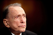 """Former Senator ARLEN SPECTER (D-PA) arrives to testify before a Administrative Oversight and the Courts Subcommittee hearing on """"Access to the Court: Televising the Supreme Court"""" on Capitol Hill on Tuesday. Specter has been trying to get the high court televised for 25 years."""