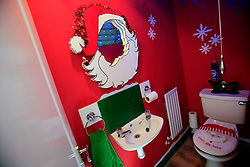 UK ENGLAND WILTSHIRE MELKSHAM 17DEC09 - The Christmas toilet decoration at Andy Park's house in Melksham, Wiltshire, where the self-proclaimed Mr Christmas celebrates Christmas every day. Mr Park, a 45-year-old divorced electrician, has consumed nearly 118,000 brussel sprouts and about 5000 bottles of Moet champagne since he decided to get into the festive spirit full-time in July 1994...jre/Photo by Jiri Rezac..© Jiri Rezac 2009