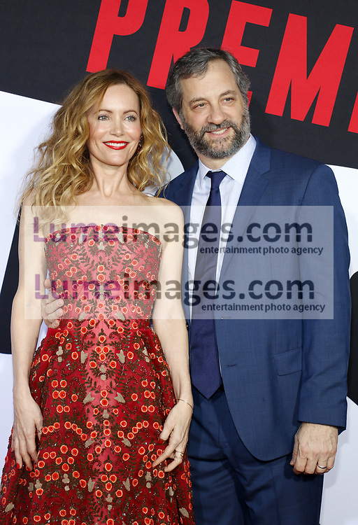 Judd Apatow and Leslie Mann at the Los Angeles premiere of 'Blockers' held at the Regency Village Theatre in Westwood, USA on April 3, 2018.