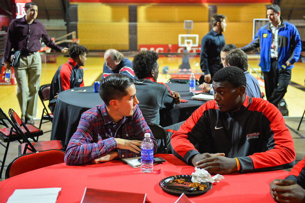 Members of the press attend media day on Tuesday, October 27, 2015. <br /> Alex Goodlett/Rutgers Athletics