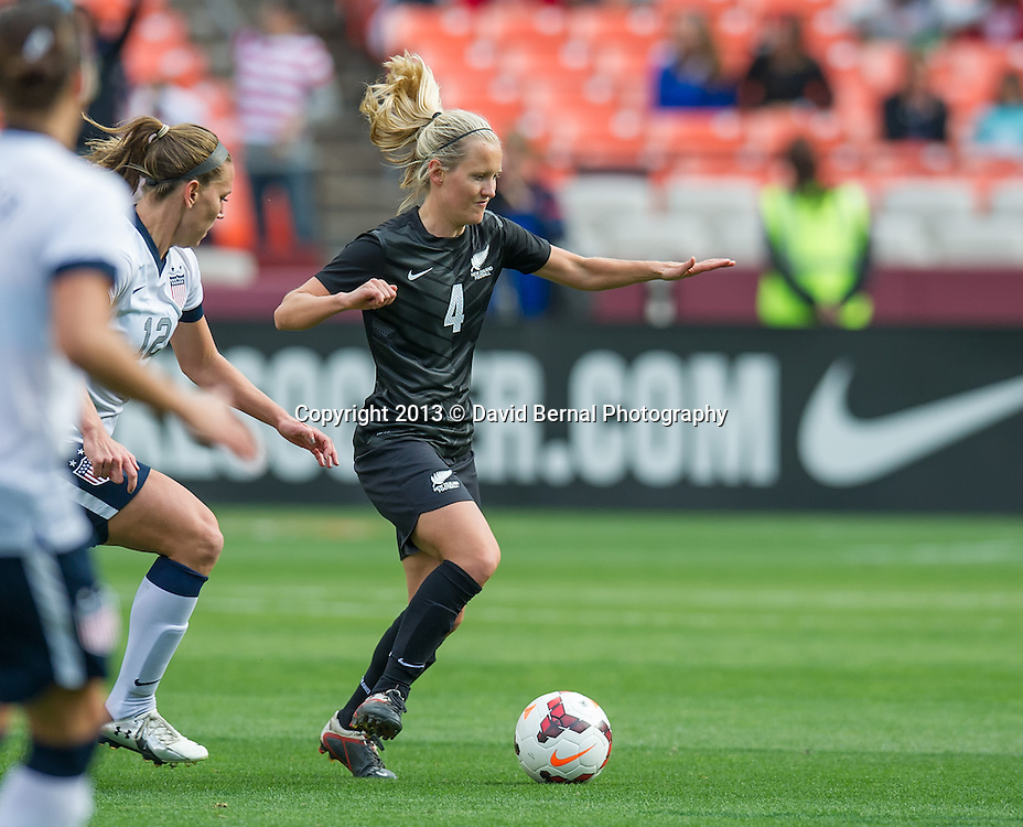 Katie Hoyle of New Zealand in action - SAN FRANCISCO, CA - October 27, 2013:  The US Women's National Team vs New Zealand match in Candlestick Park in San Francisco, CA. Final score US Women's National Team 4, New Zealand 1.