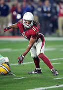 Arizona Cardinals wide receiver Larry Fitzgerald (11) looks for a tipped pass caught for a fourth quarter touchdown by Arizona Cardinals wide receiver Michael Floyd (15), giving the Cardinals a 17-13 lead during the NFL NFC Divisional round playoff football game against the Green Bay Packers on Saturday, Jan. 16, 2016 in Glendale, Ariz. The Cardinals won the game in overtime 26-20. (©Paul Anthony Spinelli)