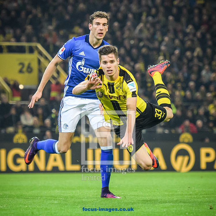 Julian Weigl of Borussia Dortmund and Leon Goretzka of FC Schalke 04 during the Bundesliga match at Signal Iduna Park, Dortmund<br /> Picture by EXPA Pictures/Focus Images Ltd 07814482222<br /> 29/10/2016<br /> *** UK &amp; IRELAND ONLY ***<br /> EXPA-EIB-161030-0052.jpg