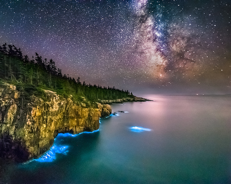 I thought I was seeing reflections at twilight under the cliffs, but as the sky got dark, the lights actually got brighter. I can't tell you how excited I was when I realized what we were seeing!  According to the Smithsonian website, each dinoflagellate bursts into light when it feels pressure against its cell wall. The light is given off in an instantaneous process; when you add the light bursts of 750,000 dinoflagellates per cubic foot of water together the effect is spectacular!<br /> <br /> Almost all marine bioluminescence is (greenish) blue in color because the blue-green light [wavelength around 470 nanometers] transmits furthest in water. Most organisms are sensitive only to blue light, although the luminescence in this case is readily visible to the dark-adapted human eye.<br /> <br /> Also,  the intensity of luminescence of these photosynthetic creatures depends on the intensity of sunlight the previous day. The brighter the sunlight the brighter the waters will glow that night.